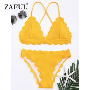 ZAFUL Bikini Women Scalloped Criss-cross Bikini Swimwear Spaghetti Straps Solid Color Swimsuit 2018 Summer Beach Bathing Suit
