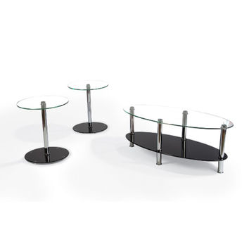 Magnussen Home T2512-68 Murano Chrome Three-Piece Accent Table Set