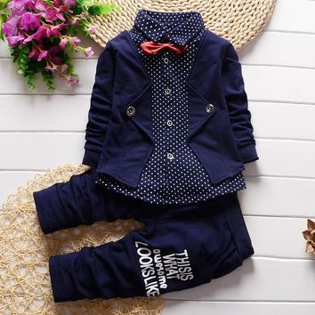 BibiCola 2017 new gentleman baby boys clothing set Children spring autumn coat + pants fake three-piece suit kids clothes suit