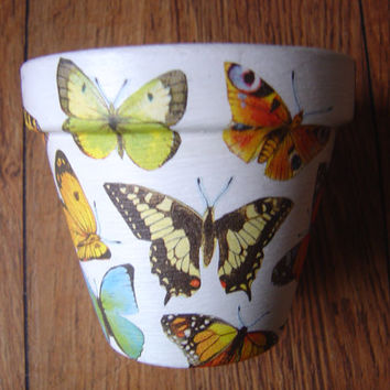 Hand Painted and Decorated Flower Pots ( Butterfly's 4 )