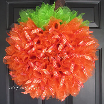 Grand Pumpkin Deco Mesh Wreath with Ribbons
