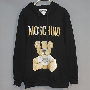 Moschino 2018 new men and women newspaper paper shell bear plus cashmere hooded hoodie Black