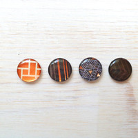 "Magnets: Black, Orange, Blue, Geometric, For Him, For Her, Gift, Art, Refrigerator Magnets, Circle - 1"" , Set of 4"