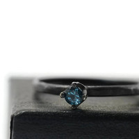 London Blue Ring, Minimalist Engagement Ring, Black Silver Ring, Oxidized Ring, Blue Topaz Ring