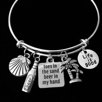 Life is Good Jewelry Toes in the Sand Beer in my Hand Expandable Charm Bracelet Silver Adjustable Bangle Ocean Nautical One Size Fits All Gift