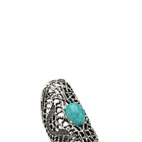 FOREVER 21 Cutout Faux Turquoise Ring Burn.S