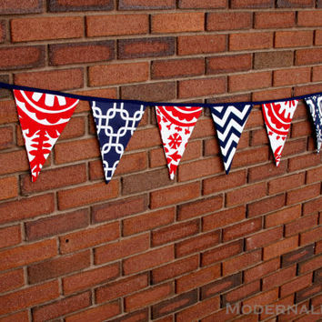 VALENTINES DAY SALE- Fabric Bunting Banner- Navy Blue and Red Pennant Flags- Party Decoration or Photo Prop