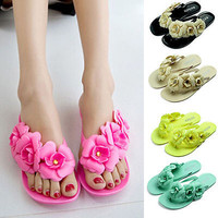Women Girl Jelly Flower Summer Beach Sandals Thong Slipper Flip Flops Flat Shoes