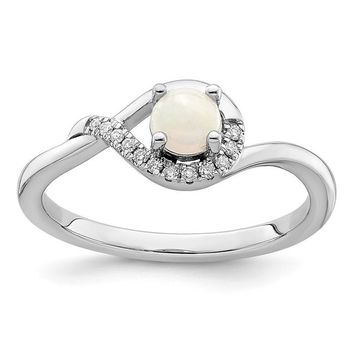 14k White Gold Round White Australian Opal And Diamond Ring