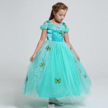 Summer Belle Elsa costume kids princess Rapunzel Jasmine dress for baby girls long Ball gown Children party wedding dress infant