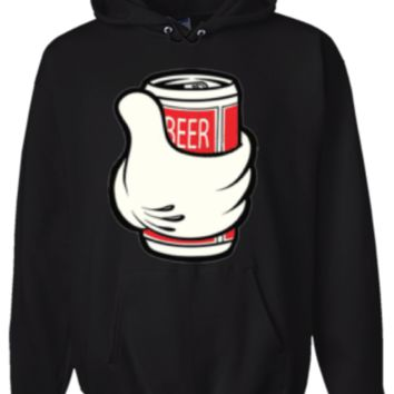 Cartoon Hand With Beer Hoodie Sweatshirt Black - Men's / Women's