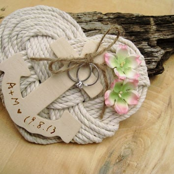 Nautical Ring Bearer Pillow Personalized Beach Wedding Anchor Ring Bearer