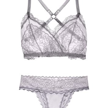 Lacey Easy Fit Lingerie Set — Pearl Gray