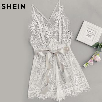 Women's Pajamas Women Ribbon Tie Waist Plunging Lace Sleep Romper White Spaghetti Strap Sleeveless Sexy Lounge Wear