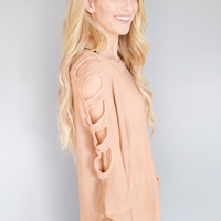 Crescent Moon Cutout Shoulder Sweater Blush