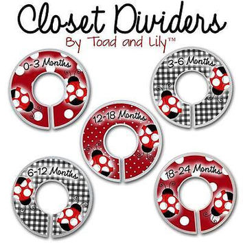 Closet Dividers In the Red Mod Ladybug Bedroom Baby Nursery Art Decor CD0015