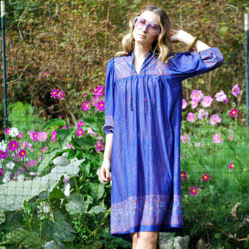 70s Poet Sleeve Hippie Dress, boho Gauze dress, ethnic paisley folk dress, Vintage Indian Dress, Blue Floral midi tent dress, Boho Caftan