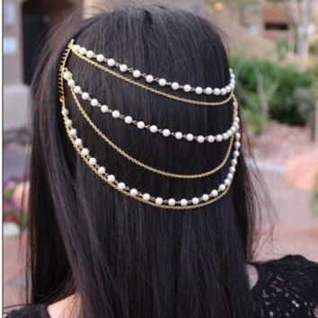 European Style 2014 Hot fashion handmade beaded pearls multilayer tassels headband bohemian style Hair chain Hair Comb(Golden A100000065 /Silver  A100000066)