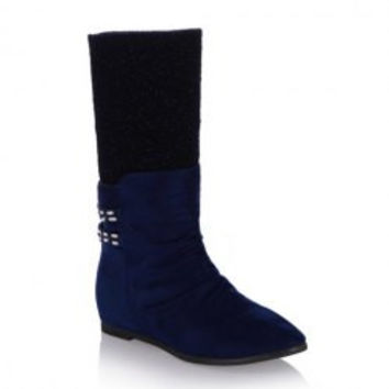 Stylish Women's Sweater Boots With Suede and Rhinestones Design