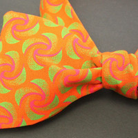 Funky Orange Self tie Bow Tie Orange Neck Tie Tuxedo Accessory Suit and Tie Accessory Orange Neck Tie Wedding Bowtie Orange Fans ShweShwe
