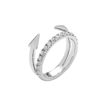 Tai Jewelry - Silver Arrow Ring | Crystal Band Stacked Ring