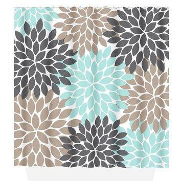 Flower SHOWER CURTAIN, Flower Bathroom, Aqua Brown Gray, Girl MONOGRAM Personalized, Floral Bathroom Decor, Bath Towel, Plush Bath Mat