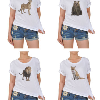 Women's Animal-7 Printed Cotton T-shirt WTS_12