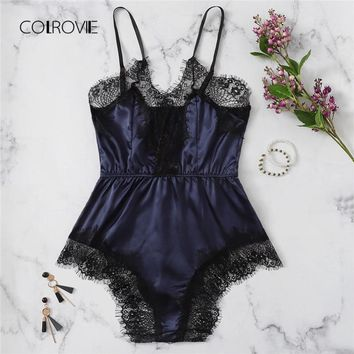COLROVIE Navy Solid Lace Trim Satin Romper Lingerie Teddy Bodysuit Women 2018 Pink Pajama Lounge Onesuit Sexy Sleepwear One Piece