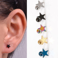 1 pc Unisex Hypoallergenic Pentagram Titanium Steel Ear Stud Earring Multicolor = 1706189764