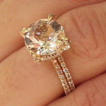 Unique engagement ring Rose Gold Morganite Engagement Ring Diamonds Wedding Ring Set Bridal engagement ring promise ring rose gold Unique