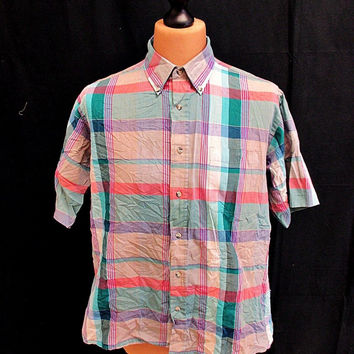 Vintage 70's London Fog Pink Check Indie Shirt L