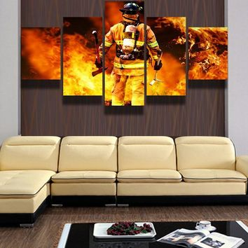Firefighter Fireman Fighting Fire wall decor art on canvas for home living room