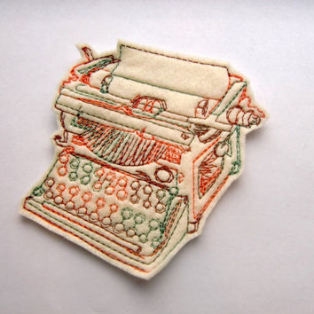 Iron on Patch Typewriter Applique in Cream Ready To Ship