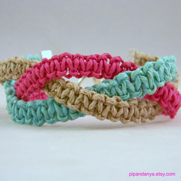 Handmade Nautical Braided Macrame Bracelet in Pink and Teal, Cotton Cord and Hemp Bracelet