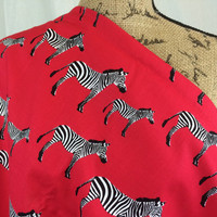 Zebras in Red-- Fabric by the HALF YARD