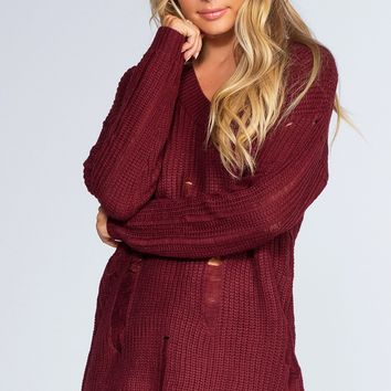 Get A Grip Distressed Sweater - Burgundy