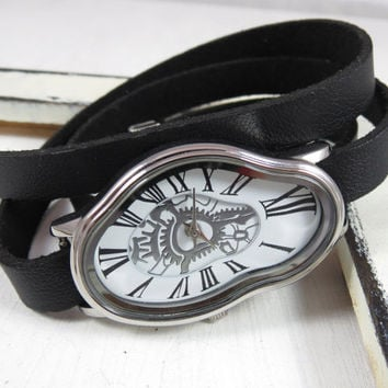 Silver Ladies Watch Inspired By Salvador Dali - Leather Accessories - Wrist Watches - Leather Watches - Women's Watches