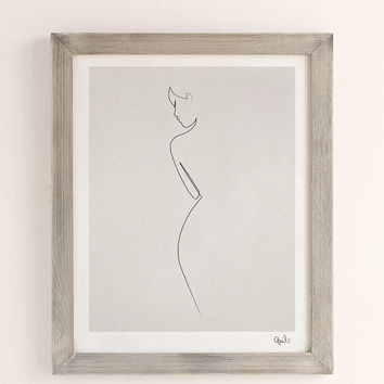 Quibe One Line Nude Art Print | Urban Outfitters