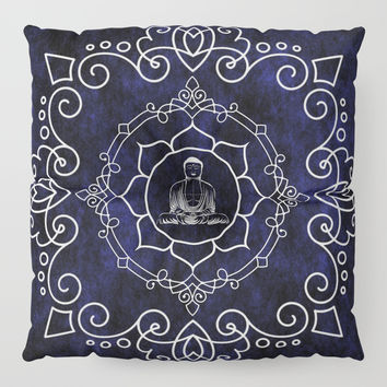 Buddha Lotus Mandala Floor Pillow by inspiredimages