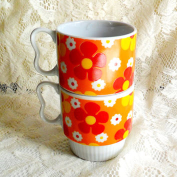 Stacking Flower Power Coffee Cups Vintage Set of 2 Two Made in Japan Mug Mod Orange Red Yellow White Retro