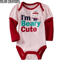 Baby Bodysuit Baby Girl Clothes Fashion Newborn Bodysuits Baby Costume Long Sleeve Letter Pattern Baby Clothes
