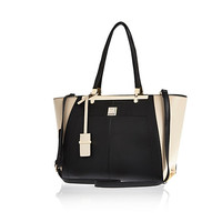 River Island Womens Black textured winged tote bag