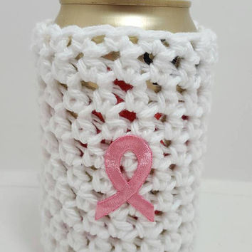 Soda pop or BEER white breast cancer inspired cozie. Made by Bead Gs on ETSY.
