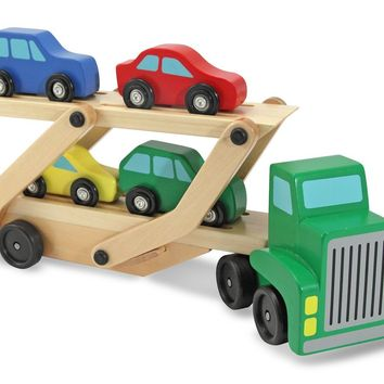 Melissa & Doug® 4096 Wooden Car Carrier Truck w/ Ramp & Cars Toy Set, Age 3+