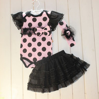 1 Set born Infant Baby Girl Clothing Polka Dot Headband  Romper  TUTU Outfit Clothes 3pcss Sets  SM6