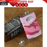 Personalized Pink Camouflage Flask