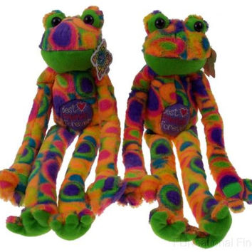 Lot 2 Peace Love Frog Best Friends Forever Hanging Soft Plush Embroidered