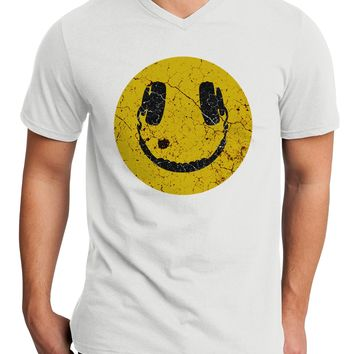 EDM Smiley Face Adult V-Neck T-shirt by TooLoud