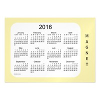 2016 Pale Goldenrod Calendar by Janz 7x5 Magnet Magnetic Invitations