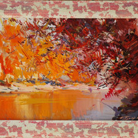 Colorful Landscape Painting Fall, Abstract Art Canvas Orange Wall Art